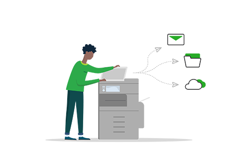 Illustration of a man using a scanner sending scans to different locations