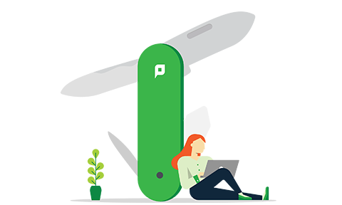 Illustration of a woman laning up next to an oversized swiss army knife working on her laptop